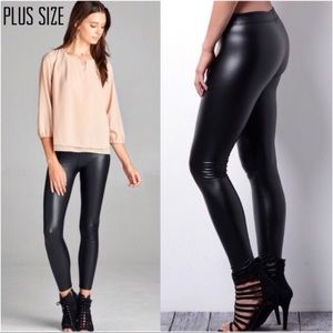 Pants - Plus Size Faux Leather Leggings